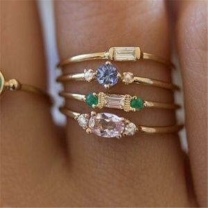 3/$30 Gold Boho Crystal Stackable Rings